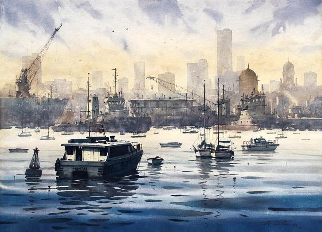 mumbai-skyline-watercolor-painting-by-ananta-mandal